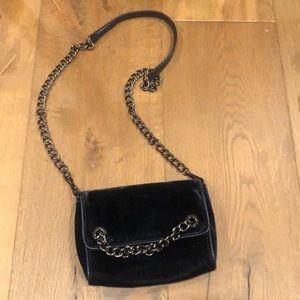Zara Handbag Velvet Midnight Blue texture!